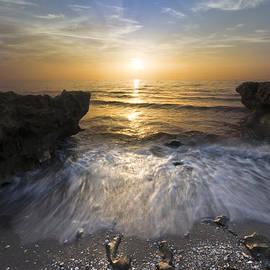 Waves at Sunrise by Debra and Dave Vanderlaan