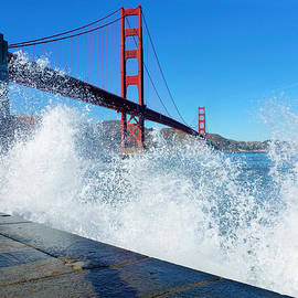 Waves Crash Over Golden Gate by Fabien White
