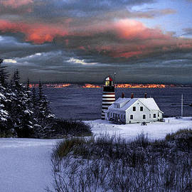 Marty Saccone - West Quoddy Head Lighthouse Winters Dusk Afterglow