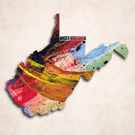 World Art Prints And Designs - West Virginia Map Art - Painted Map of West Virginia