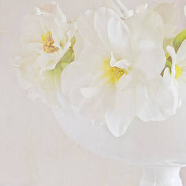 White Begonias In Pedestal Bowl by Sandra Foster