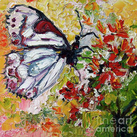 White Butterfly Impressionist Oil Painting by Ginette Callaway