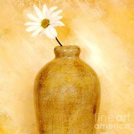 White Daisy in Gold Pottery by Marsha Heiken