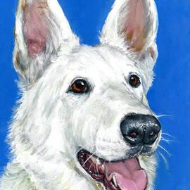 Dottie Dracos - White German Shepherd on Blue
