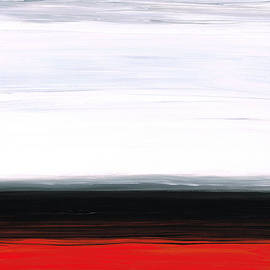 Sharon Cummings - White Horizon - Abstract Red And Black Landscape Art