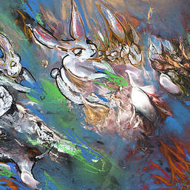 White Rabbits on The Run by Miki De Goodaboom