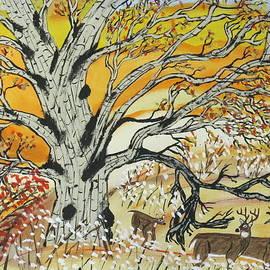 Jeffrey Koss - Whitetails and White Oak Tree