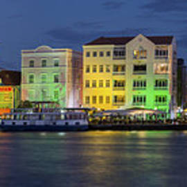 Willemstad Curacao at Night Panoramic by Adam Romanowicz