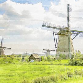 Windmills at Kinderdijk in  the Netherlands by Patricia Hofmeester