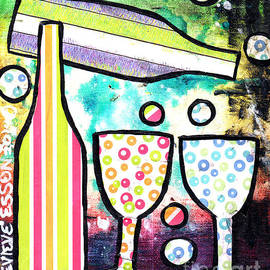 Genevieve Esson - Wine and Glass Collage Abstract