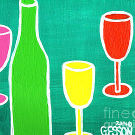Genevieve Esson - Wine Glasss and Bottles with Green Background