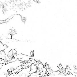 Maria Hunt - Winnie the Pooh and Crew in Pen  and Ink after E H Shepard