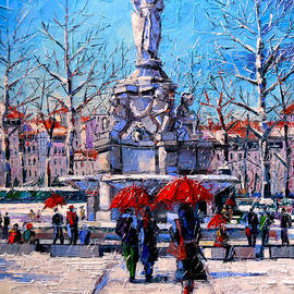 Mona Edulesco - Winter City Scene - The Square  Marshal Lyautey In Lyon - France