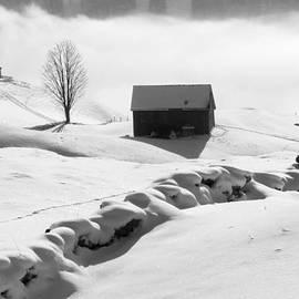 Matthias Hauser - Winter landscape in Switzerland - black and white photo