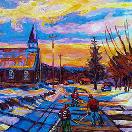 Winter Scene Painting-hockey Game In The Village-rural Hockey Scene by Carole Spandau