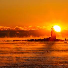 Winter Sunrise Whaleback Light by Jeff Sinon