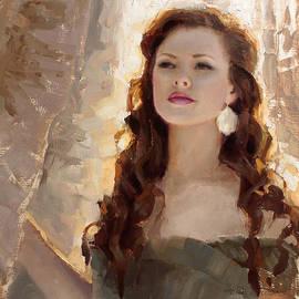 Winter Warmth - Impressionistic Portrait by K Whitworth