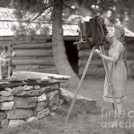Woman and View Camera 1910 by Martin Konopacki Restoration
