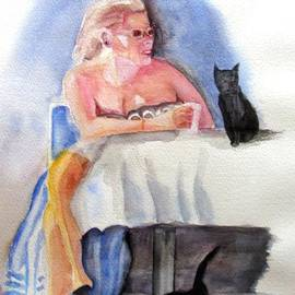 Gary Kirkpatrick - Woman at Cafe With Cats