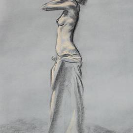 Woman Balancing a Bag on Her Shoulder by Asha Carolyn Young
