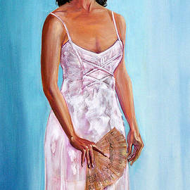 Woman in a White Dress Holding a Fan by Asha Carolyn Young