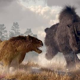 Woolly Rhino And Cave Lion by Daniel Eskridge