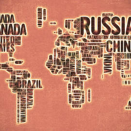 Georgeta Blanaru - World Map Typography Artwork