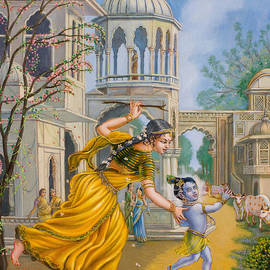 Yashoda Chasing Baby Krishna by Dominique Amendola