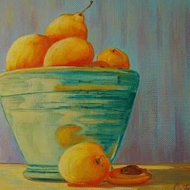 Yellow Fruit Blue Bowl by Cheryl Fecht