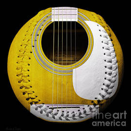 Andee Design - Yellow Guitar Baseball White Laces Square