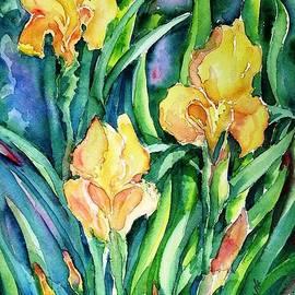 Yellow Irises in the Garden  by Trudi Doyle