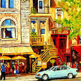 Carole Spandau - Yellow Umbrellas On Rue St Denis Cafe Paintings Montreal Summer City Scenes Cafe Soleil Bistro