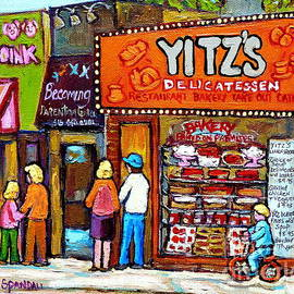 Yitzs Deli Toronto Restaurants Cafe Scenes Paintings Of Toronto Landmark City Scenes Carole Spandau  by Carole Spandau