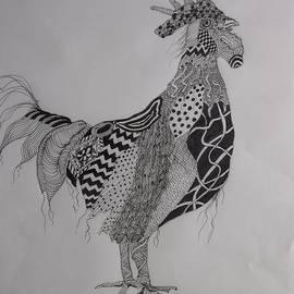 Zen Rooster Left by Audrey Bunchkowski