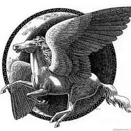 Pegasus-black-white-drawing by Gordon Punt