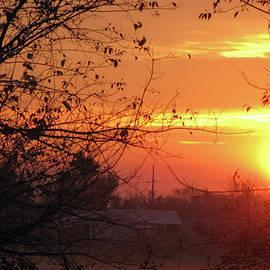 Sunrise Over Rural Homestead by Cedric Hampton