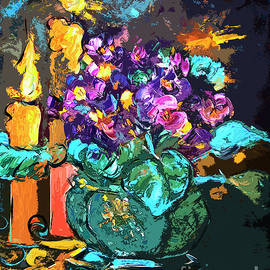 Ginette Callaway - African Violets in Candlelight Still Life