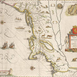 Joan Blaeu - Antique Map of New Belgium and New England