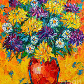 Ana Maria Edulescu - Autumn Flowers Gorgeous Mums - Original Oil Painting