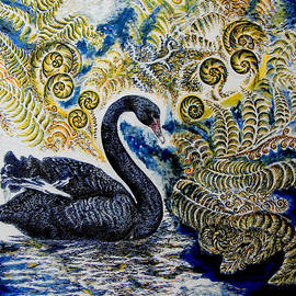 Helen Duley - Black Swan and Tree Ferns no1