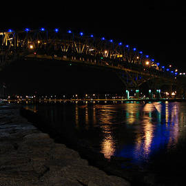 Bluewater Bridges At Night Facing South by Bruce Ritchie