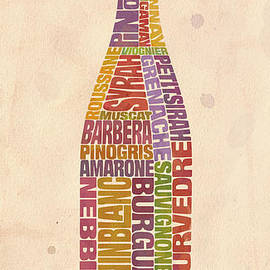 Burgundy Wine Word Bottle by Mitch Frey