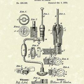 Clarkson Bit Brace 1883 Patent Art  by Prior Art Design