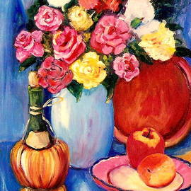 Classic Floral Still Life With Wine Bottle And Roses by Carole Spandau