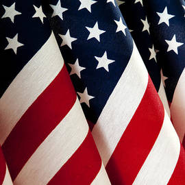 Evelyn Peyton - Close up of American Flags