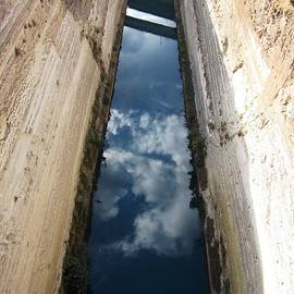Corinth Canal Sky Reflection In Water II In Greece by John Shiron