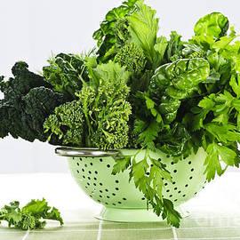 Dark green leafy vegetables in colander by Elena Elisseeva