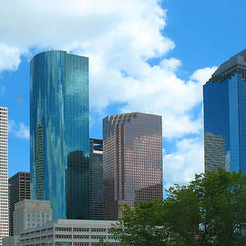Downtown Houston With Tree by Connie Fox