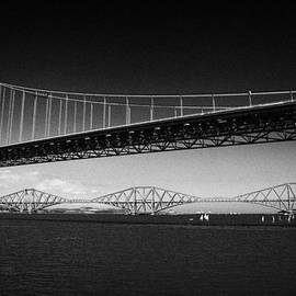 Joe Fox - firth of forth bridges forth road bridge in foreground rail bridge in background