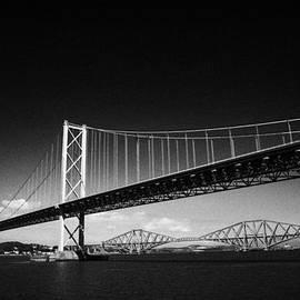 Joe Fox - firth of forth bridges forth road bridge in foreground rail bridge in background scotland